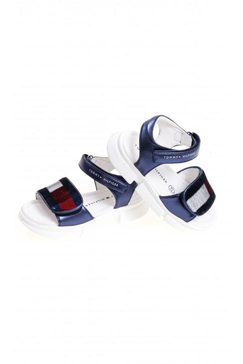 Granatowe sandały dla dziewczynki na rzepy, Tommy Hilfiger