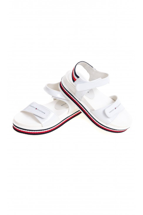 Białe sandały dziewczęce na jeden szeroki pasek, Tommy Hilfiger