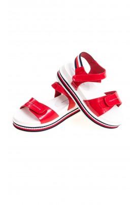 Czerwone sandały dziewczęce na jeden szeroki pasek, Tommy Hilfiger