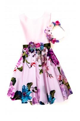 Różowa sukienka dla dziewczynki na uroczystości, Lesy