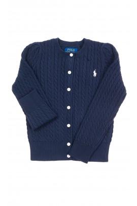 Rozpinany granatowy sweter dziewczęcy, Polo Ralph Lauren