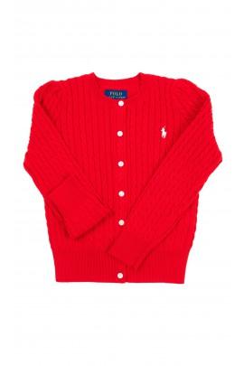 Rozpinany czerwony sweter dziewczęcy, Polo Ralph Lauren