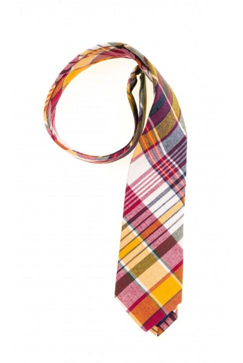 Krawat chłopięcy w żółto-czerwoną kratę, Polo Ralph Lauren
