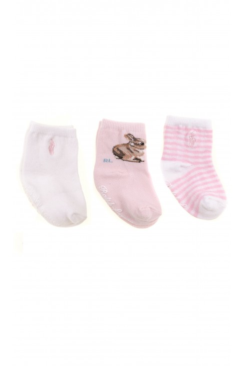 Skarpetki niemowlęce różowo-białe 3-pak, Ralph Lauren