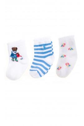 Skarpetki niemowlęce biało-niebieskie 3-pak, Ralph Lauren