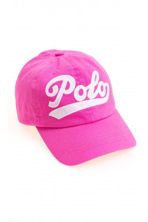 Różowa czapka z daszkiem z napisem POLO, Polo Ralph Lauren