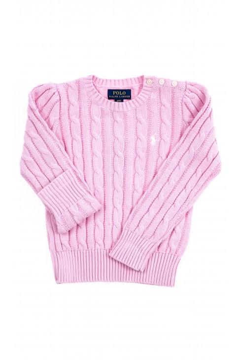Różowy sweter dziewczęcy o splocie warkoczowym, Polo Ralph Lauren