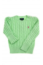 Seledynowy sweter dziewczęcy o splocie warkoczowym, Polo Ralph Lauren