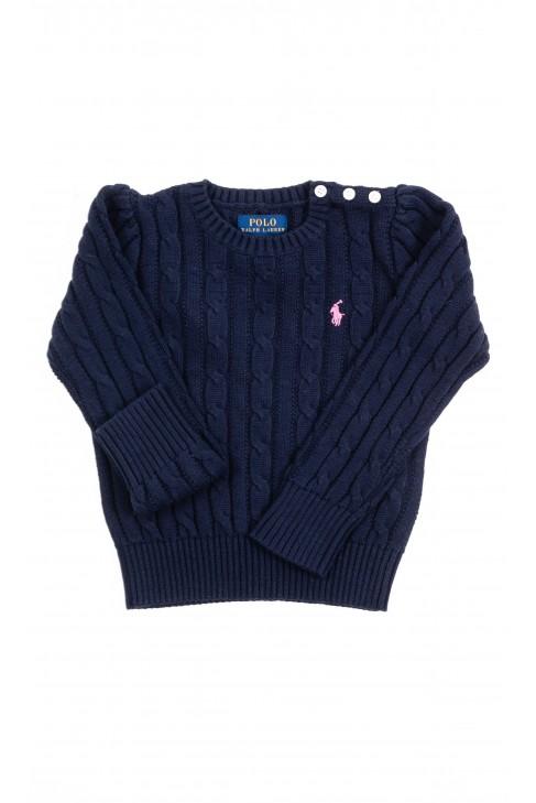 Granatowy sweter dziewczęcy o splocie warkoczowym, Polo Ralph Lauren