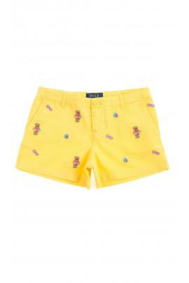 Żółte krótkie spodenki dziewczęce, Polo Ralph Lauren