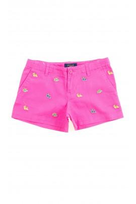 Różowe krótkie spodenki dziewczęce, Polo Ralph Lauren