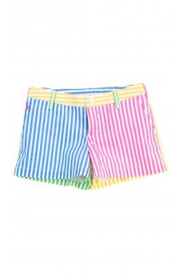 Krótkie spodenki w kolorowe paski dla dziewczynki, Polo Ralph Lauren