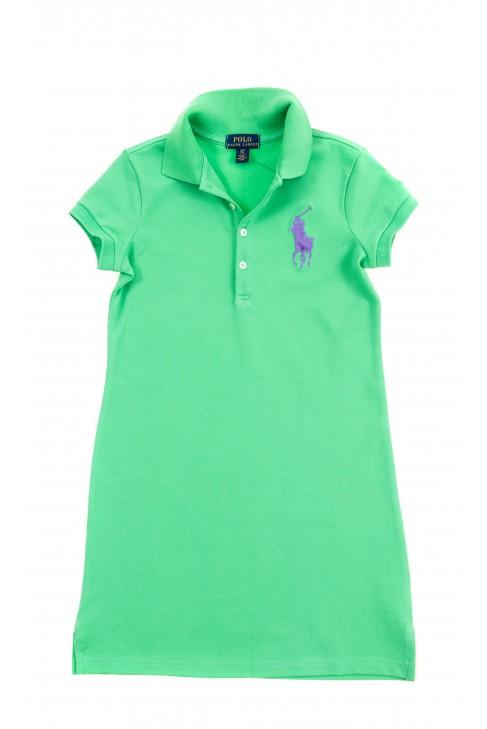 Zielona bawełniana sukienka z kołnierzykiem polo, Polo Ralph Lauren