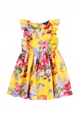 Żółta sukienka w kolorowe kwiaty, Polo Ralph Lauren