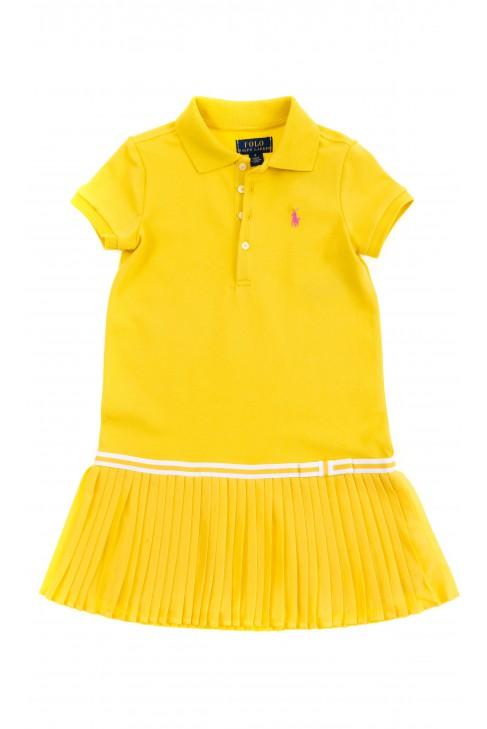 Żółta sportowa sukienka dla dziewczynki, Polo Ralph Lauren