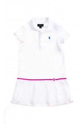 Biała sportowa sukienka dla dziewczynki, Polo Ralph Lauren