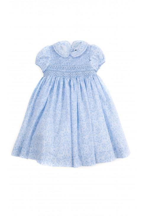 Biała sukienka w niebieskie kwiatki, Polo Ralph Lauren
