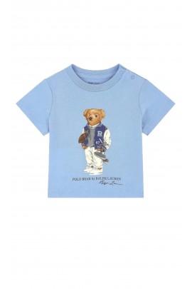Niebieski t-shirt dziecięcy z kultowym misiem, Polo Ralph Lauren