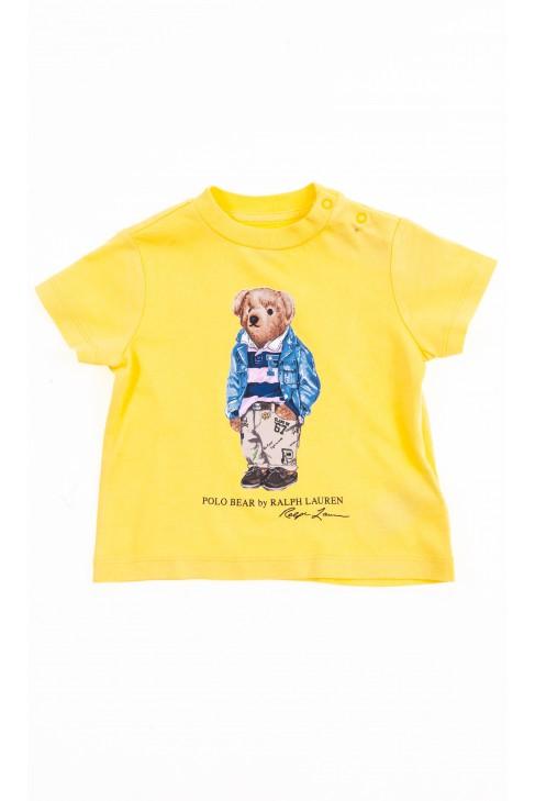 Żółty t-shirt na krótki rękaw z kultowym misiem, Ralph Lauren