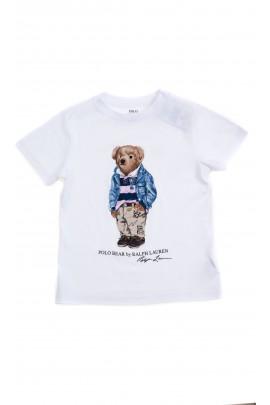 Biały t-shirt na krótki rękaw z kultowym misiem, Polo Ralph Lauren