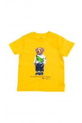 Żółty t-shirt chłopięcy na krótki rękaw z kultowym misiem z przodu, Polo Ralph Lauren