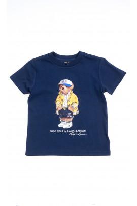 Granatowy t-shirt chłopięcy na krótki rękaw z kultowym misiem z przodu, Polo Ralph Lauren