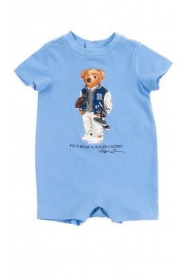 Niebieski rampers niemowlęcy z kultowym misiem, Ralph Lauren