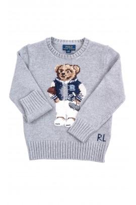 Szary sweter chłopięcy z kultowym misiem z przodu, Polo Ralph Lauren
