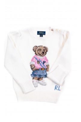 Sweter dziewczęcy ecru z kultowym misiem, Polo Ralph Lauren