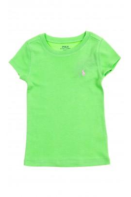 Zielony t-shirt dziewczęcy na krótki rękaw, Polo Ralph Lauren