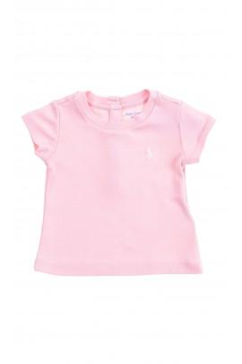 Jasno różowy t-shirt dziewczęcy na krótki rękaw, Polo Ralph Lauren