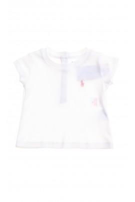 Biały t-shirt niemowlęcy dla dziewczynki, Ralph Lauren