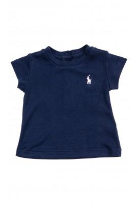 Granatowy t-shirt niemowlęcy na krótki rękaw, Ralph Lauren