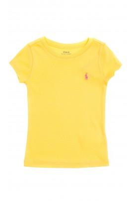 Żółty t-shirt dziewczęcy na krótki rękaw, Polo Ralph Lauren