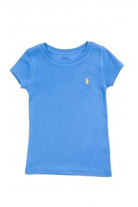 Niebieski t-shirt dziewczęcy na krótki rękaw, Polo Ralph Lauren