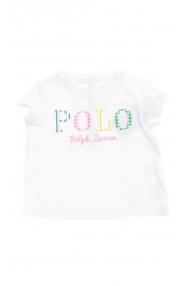 Biały t-shirt niemowlęcy z napisem POLO z przodu, Ralph Lauren