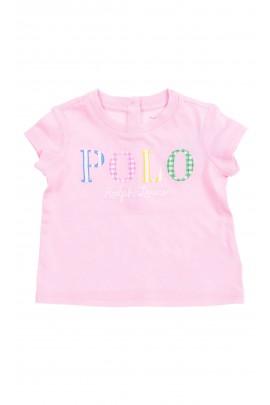 Różowy t-shirt niemowlęcy z napisem POLO z przodu, Ralph Lauren