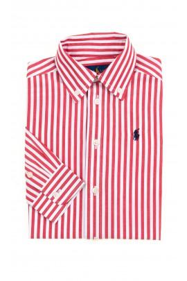 Koszula w biało czerwone pionowe paski chłopięca, Polo Ralph Lauren