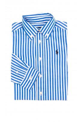 Koszula chłopięca w biało-niebieskie pionowe paski, Polo Ralph Lauren