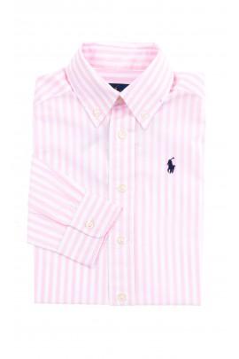 Koszula chłopięca w biało-różowe pionowe paski, Polo Ralph Lauren