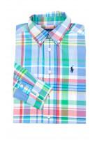 Koszula chłopięca w kolorową niebiesko-zieloną kratę, Ralph Lauren