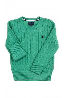 Zielony sweter, ścieg warkoczowy, Polo Ralph Lauren
