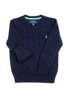 Granatowy sweter chłopięcy, ścieg warkoczowy, Polo Ralph Lauren