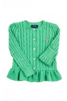 Zielony sweter dziewczęcy rozpinany z przodu, Polo Ralph Lauren