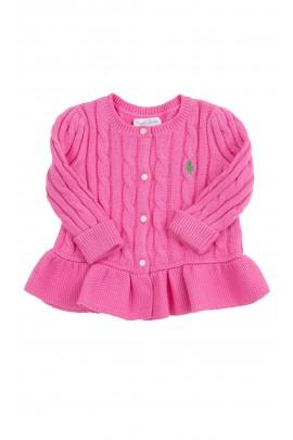 Różowy sweter dziewczęcy o splocie warkoczowym, Ralph Lauren