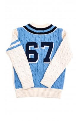 Sweter chłopięcy écru w literę V, Polo Ralph Lauren