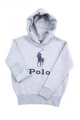 Szara bluza dresowa z kapturem z napisem POLO, Polo Ralph Lauren