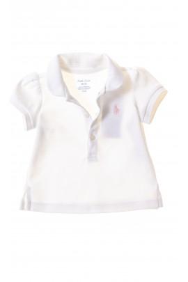 Biała koszulka polo niemowlęca dla dziewczynki, Ralph Lauren