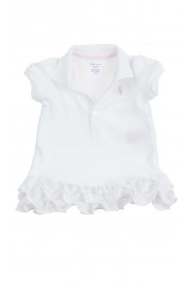 Biała niemowlęca sukienka z falbankami, Ralph Lauren