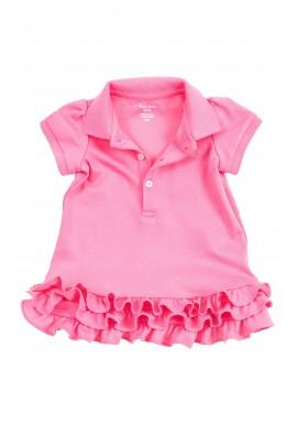 Różowa niemowlęca sukienka z falbankami, Ralph Lauren